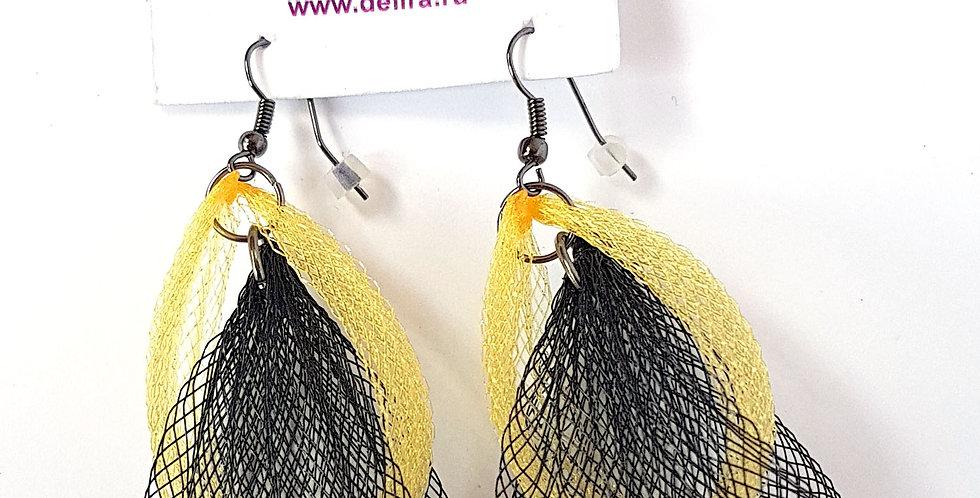 Серьги из сетки Лилия двойные черно-золотистые