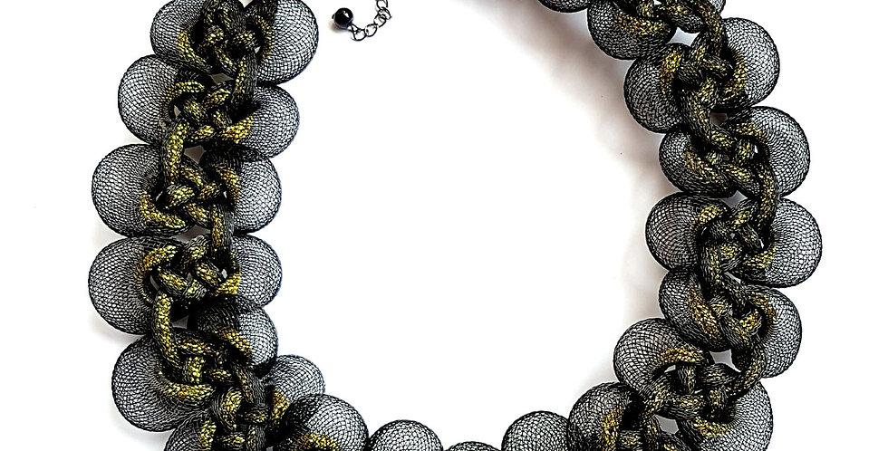 Ожерелье из сетки Вечерний блеск черное с золотом