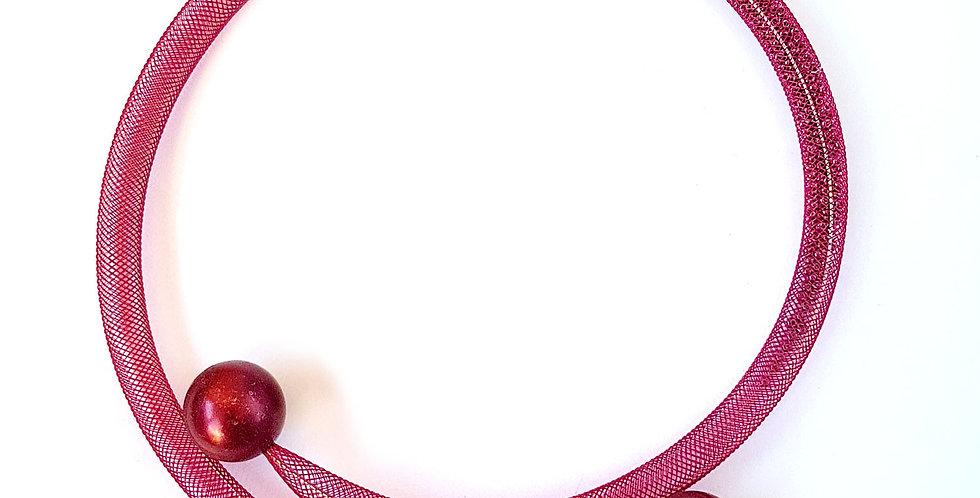 Чокер из сетки Бордовая россыпь тонкий