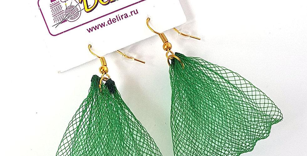 Серьги из сетки Лилия зеленые