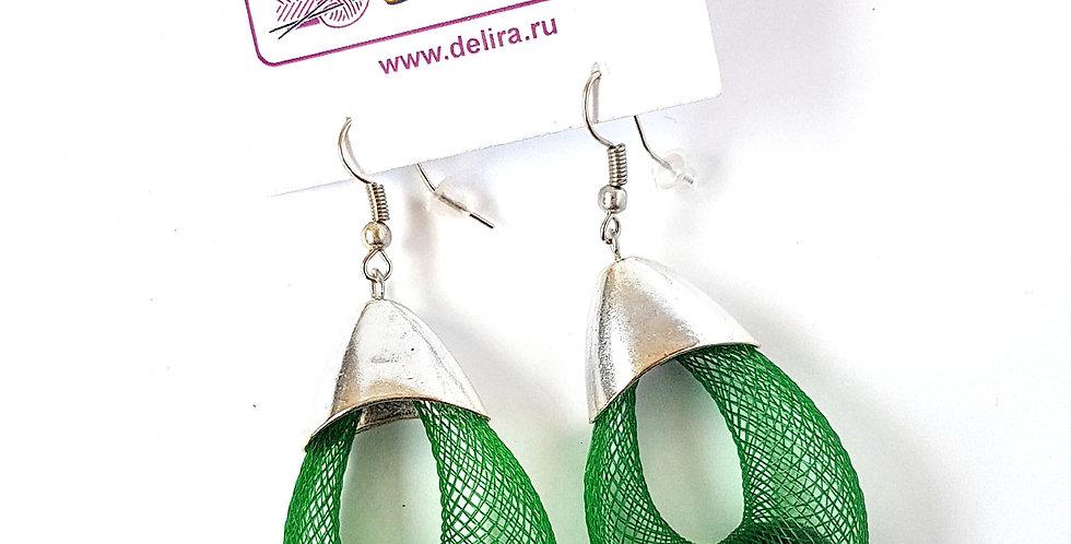Серьги Удачный улов зеленые под серебро