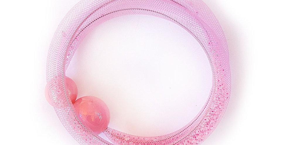 Браслет из сетки Розовая россыпь тонкий