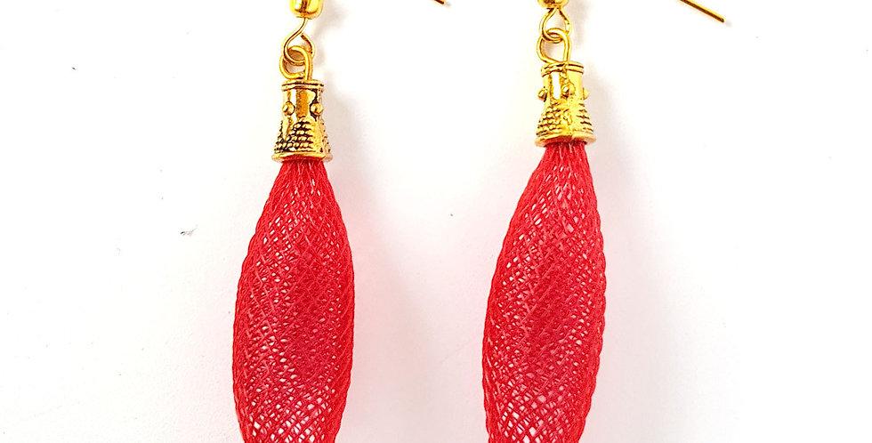 Серьги из сетки Кокон красные под золото