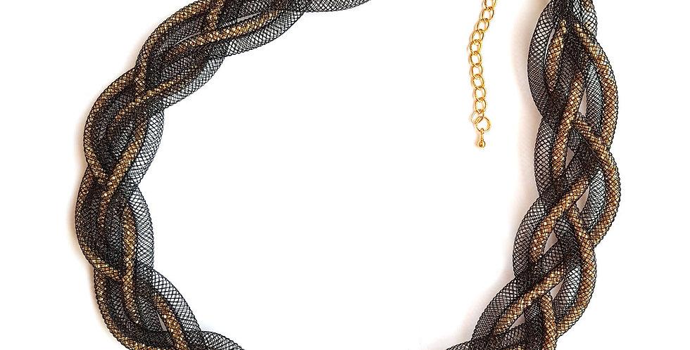 Ожерелье Косичка черно-золотистый