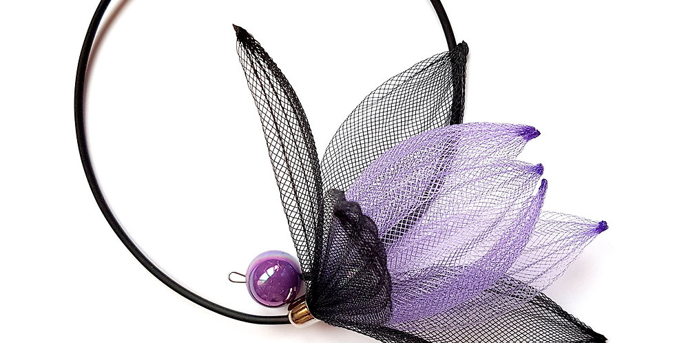Чокер из сетки Лилия черно-сиреневый