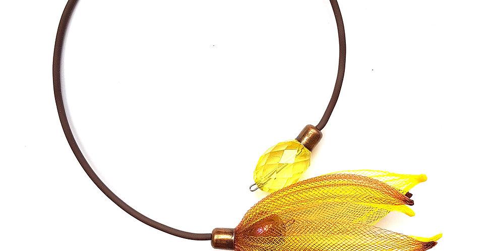 Чокер из сетки Лилия коричнево-желтый
