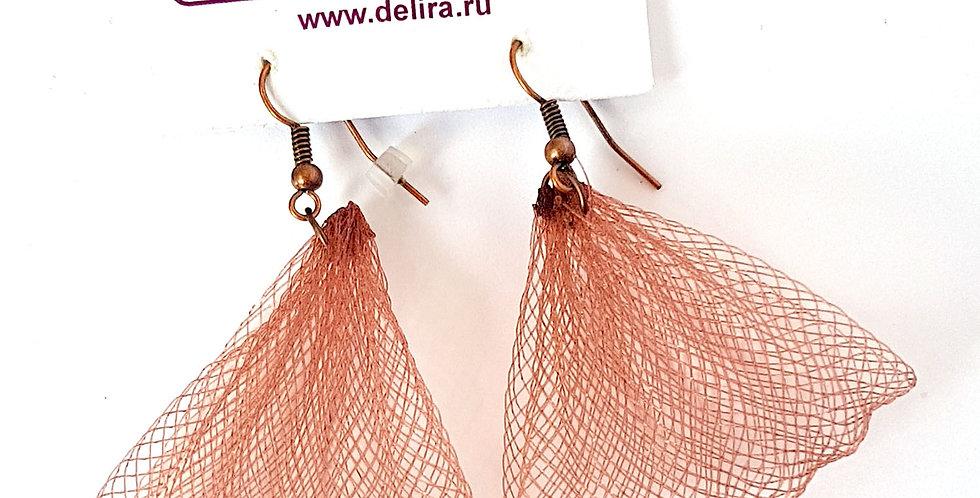 Серьги из сетки Лилия коричневые