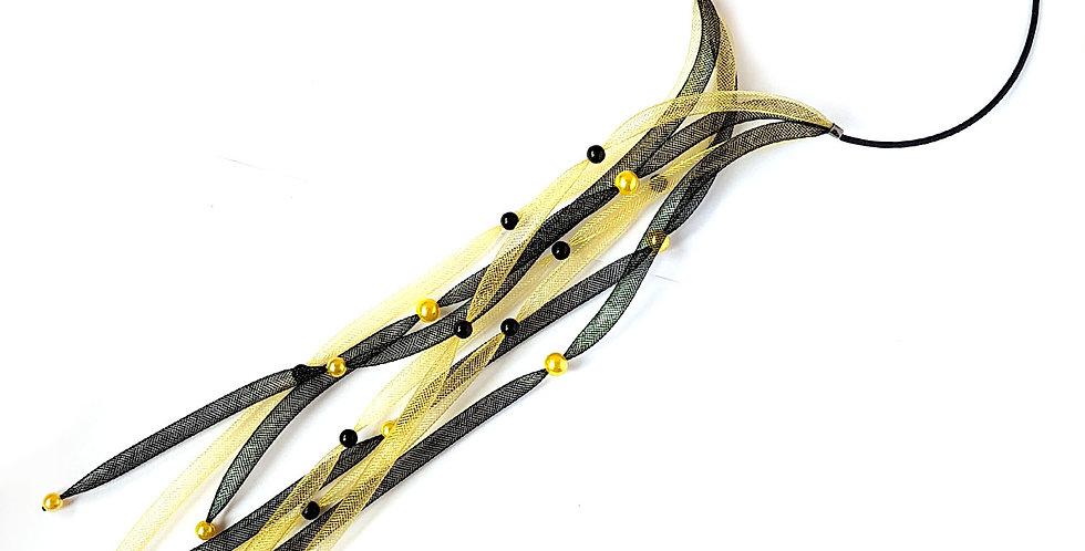 Чокер из сетки Водопад черно-золотистый