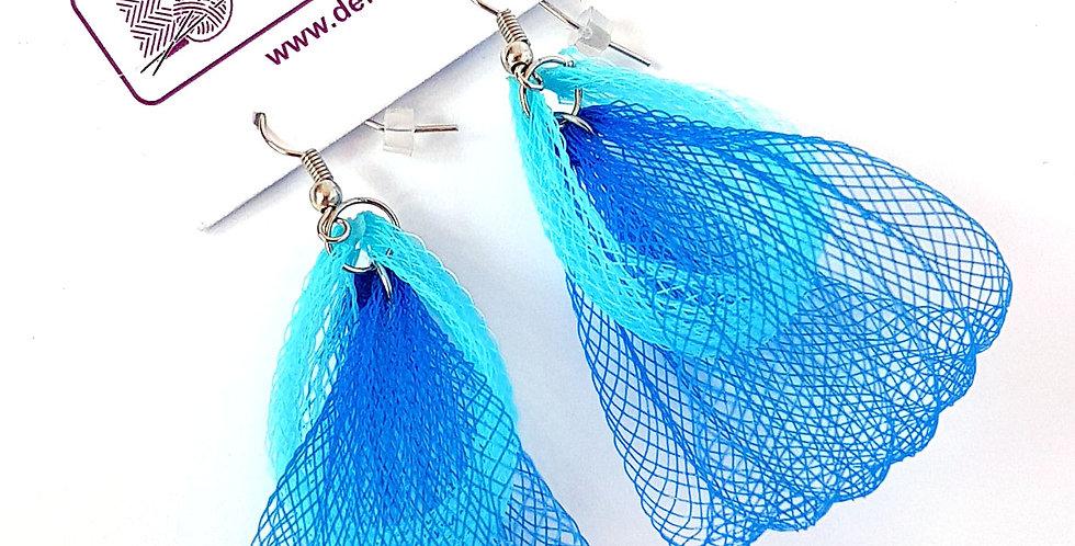 Серьги из сетки Лилия двойные сине-бирюзовые