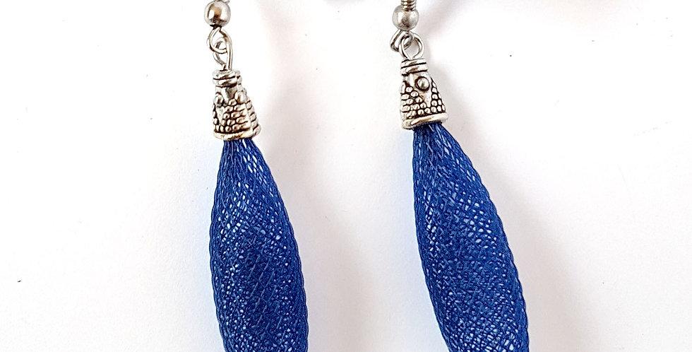 Серьги из сетки Кокон темно-синие