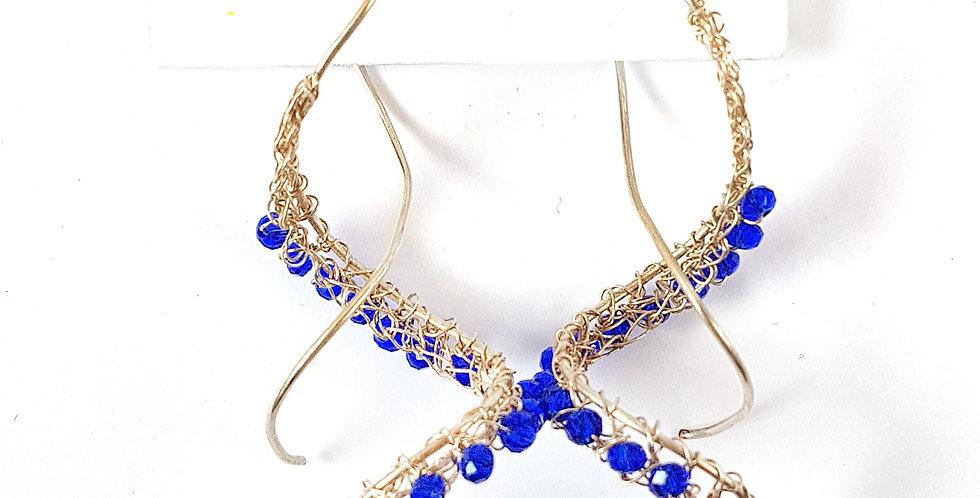 Серьги из проволоки Спираль посеребренные с синим