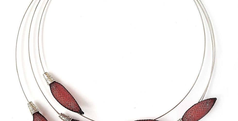 Колье из сетки на мемори-проволоке Веточка цвет лосось