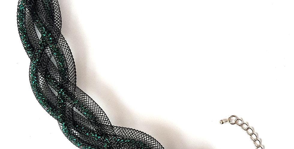 Браслет из сетки Косичка черно-изумрудный