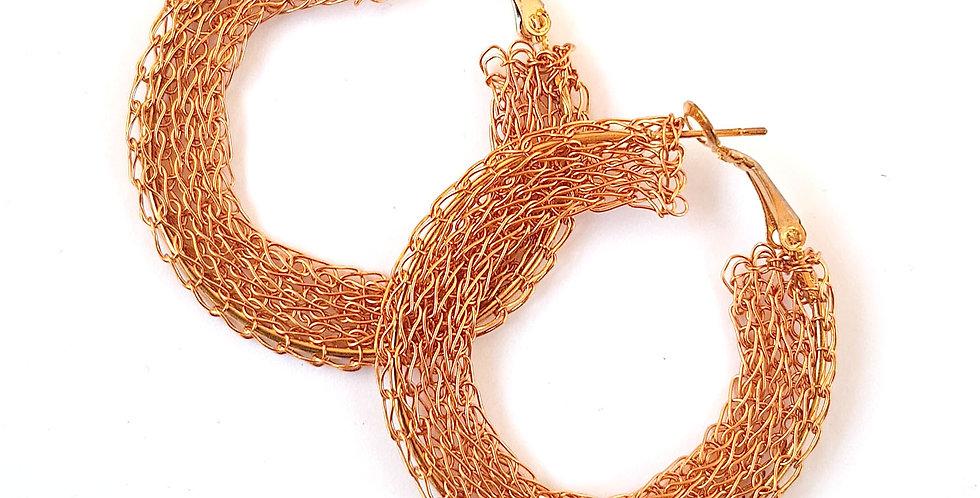 Серьги-кольца из проволоки Плоские под розовое золотозолото