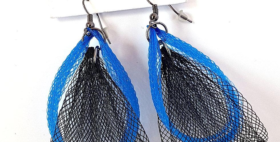 Серьги из сетки Лилия двойные черно-синие