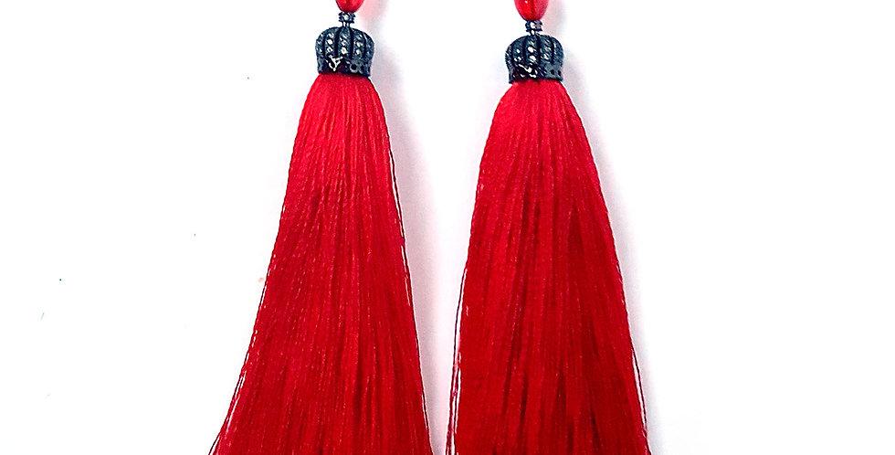 Серьги-кисти Королевский красный