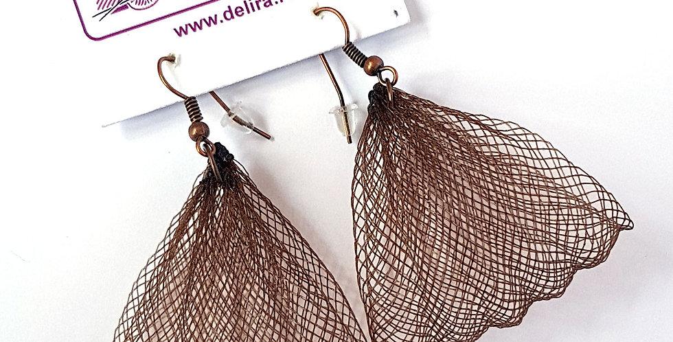 Серьги из сетки Лилия темно-коричневые