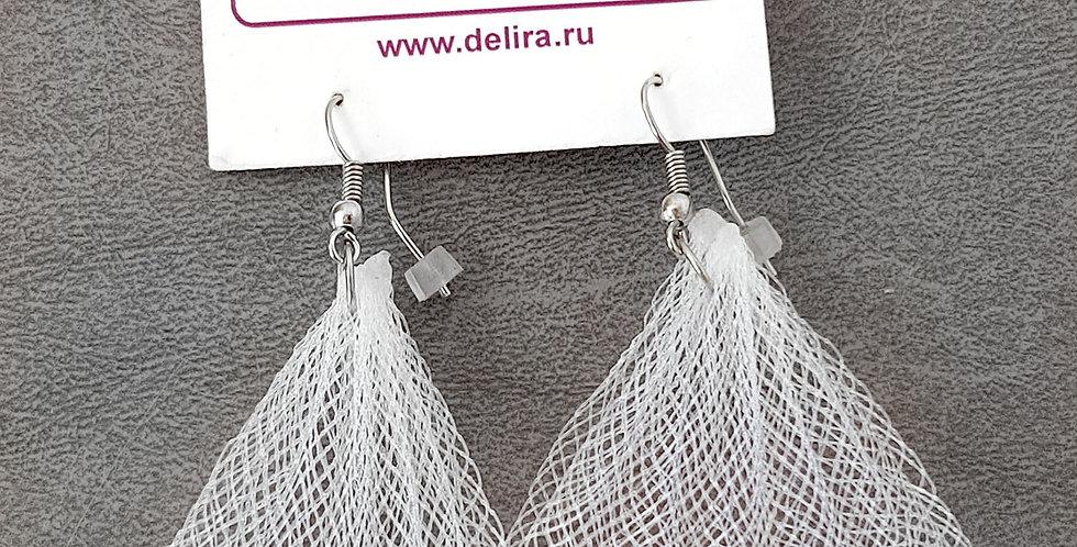 Серьги из сетки Лилия белые