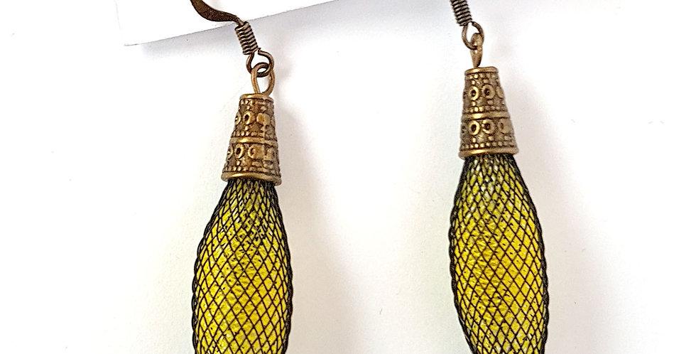 Серьги из сетки Кокон черно-желтые с бронзой