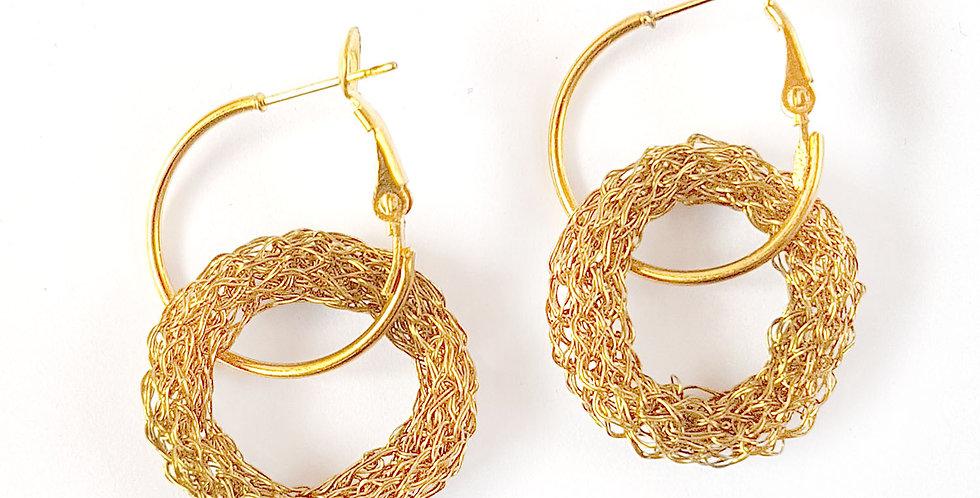 Серьги-кольца из проволоки Двойные под золото