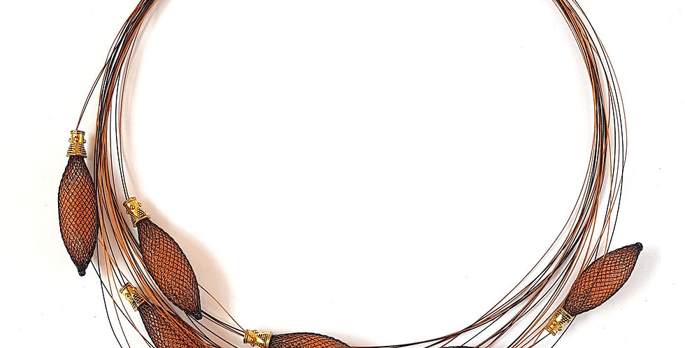 Ожерелье из сетки Орбиты черно-оранжевый