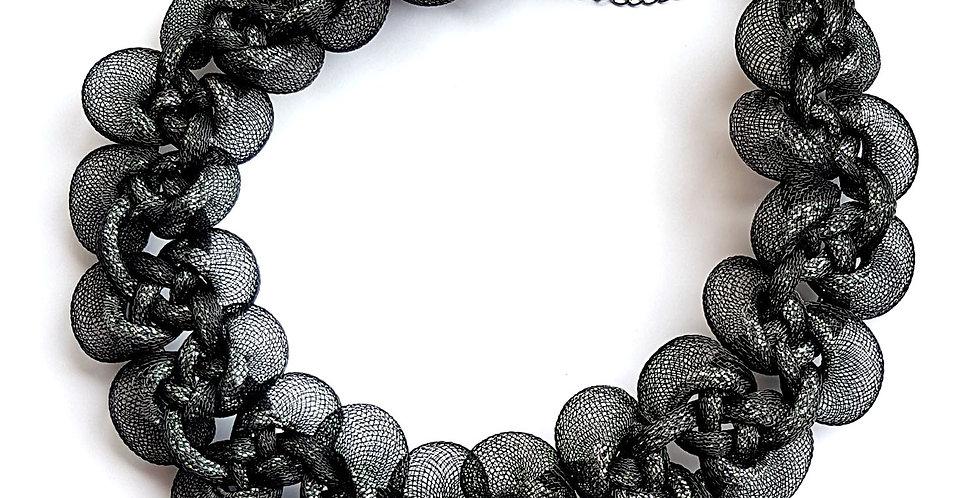 Ожерелье из сетки Вечерний блеск черное с серебром