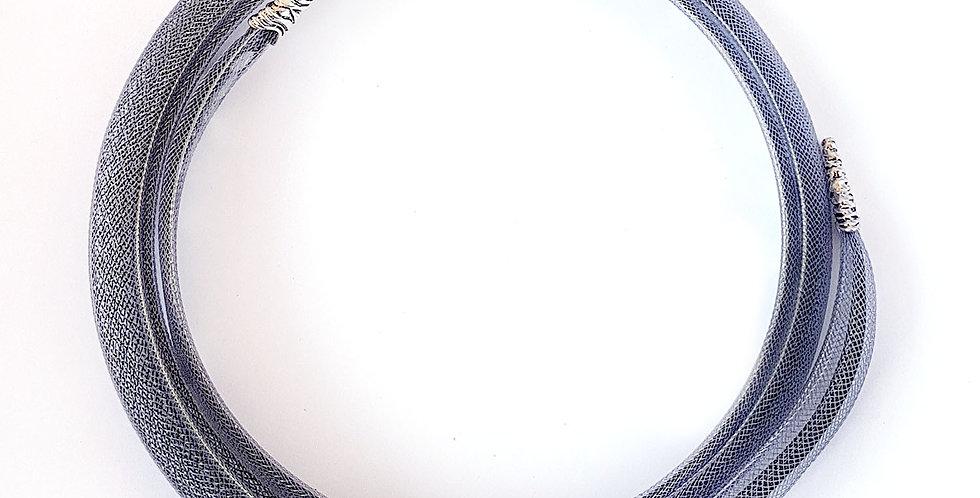 Чокер из сетки Туманность серо-черный