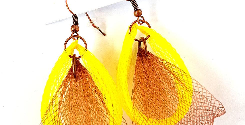 Серьги из сетки Лилия двойные коричнево-желтые