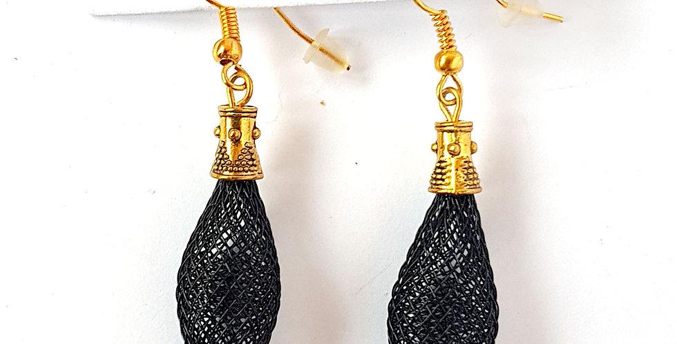 Серьги из сетки Кокон черные золото