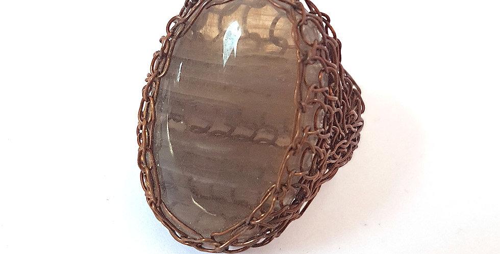 Перстень из проволоки Прозрачный агат