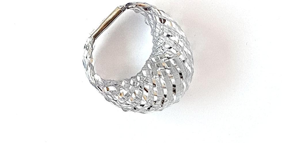 Кольцо из сетки Спутник серебристое