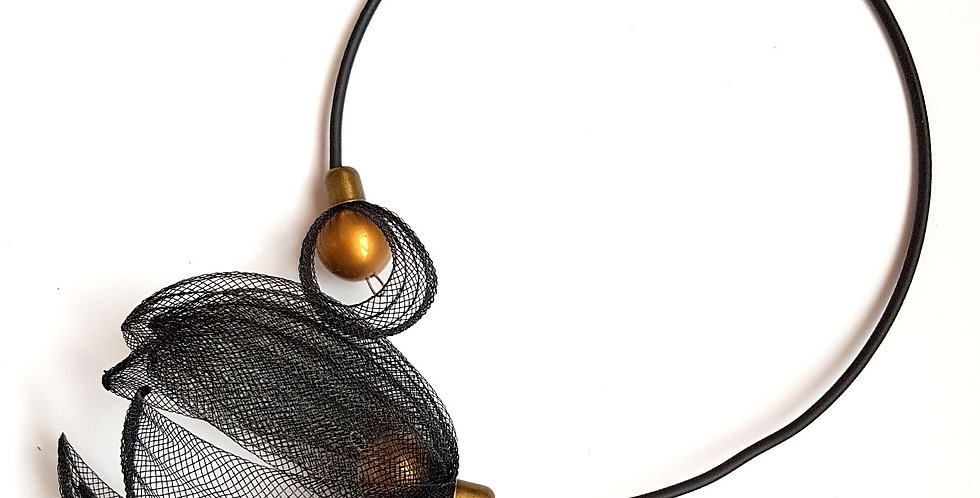 Чокер из сетки Лилия черный с бронзовым