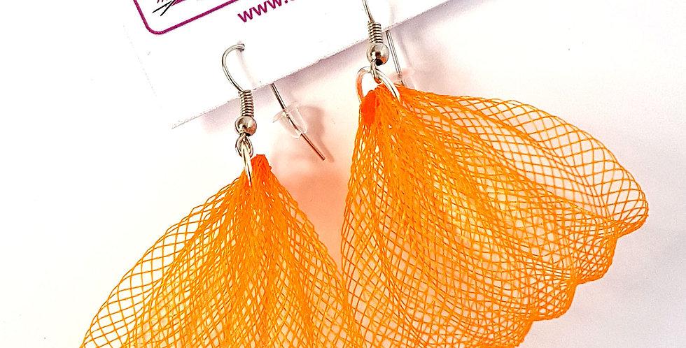 Серьги из сетки Лилия оранжевые