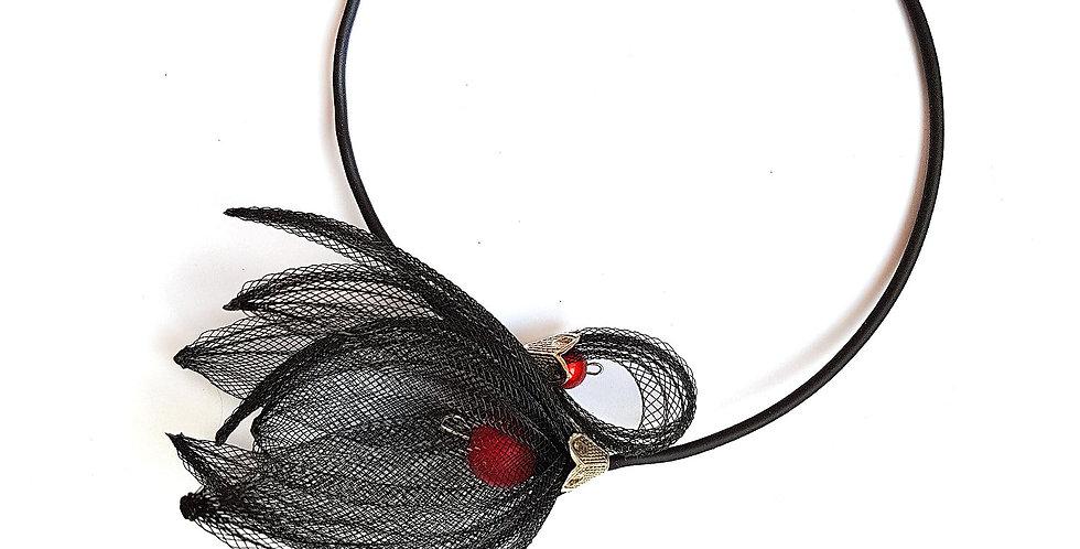 Чокер из сетки Лилия черный с красным