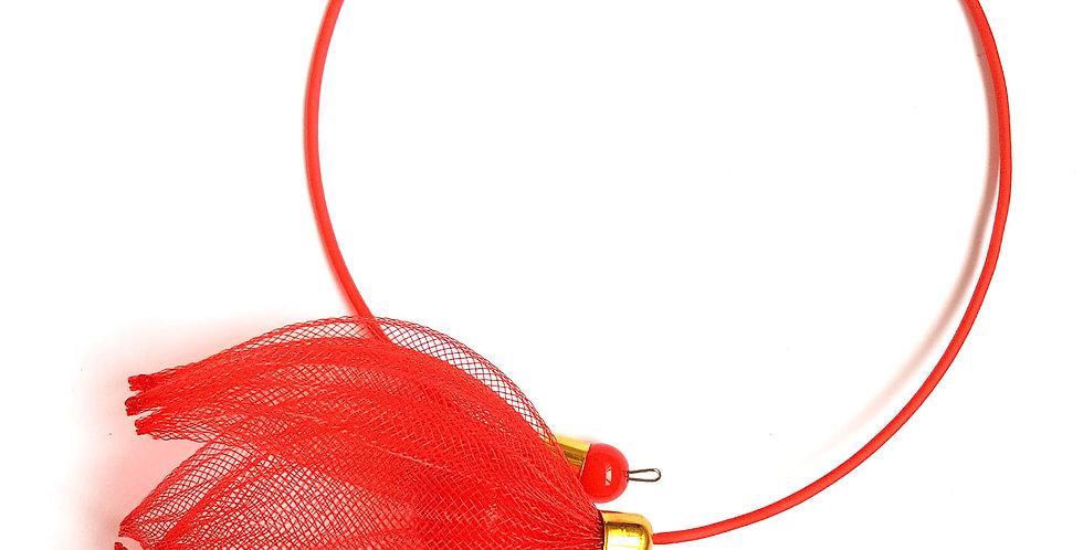 Чокер из сетки Лилия красный