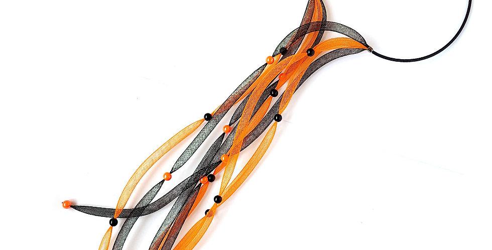 Чокер из сетки Водопад черно-оранжевый