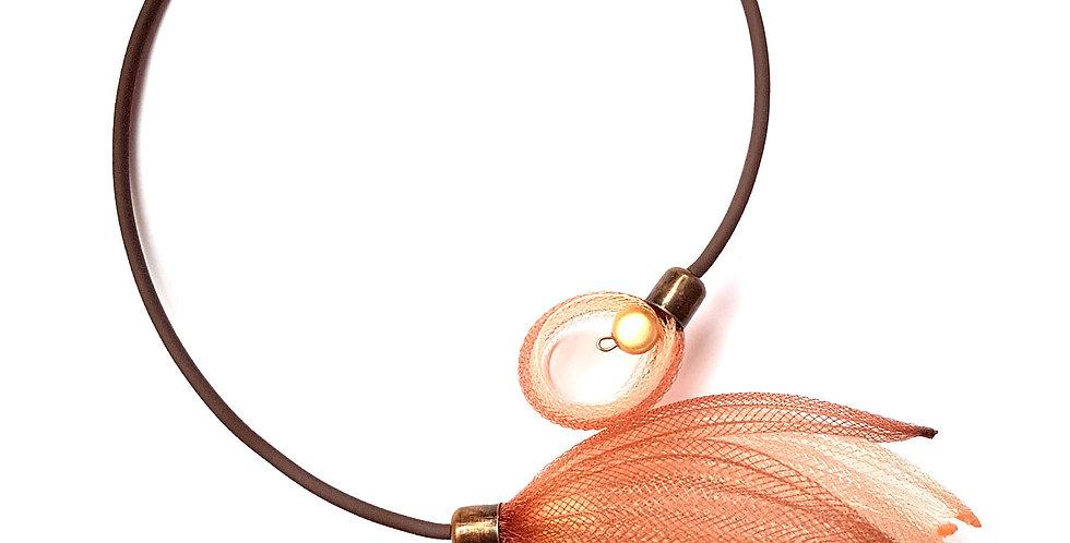 Чокер из сетки Лилия коричнево-бежевый