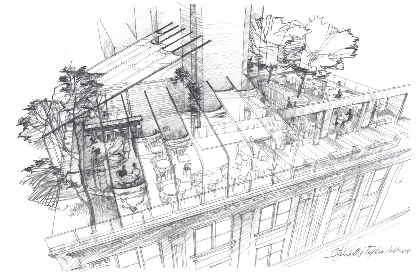 Architectural pencil sketch