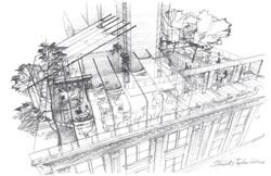 Architectural pencil sketch