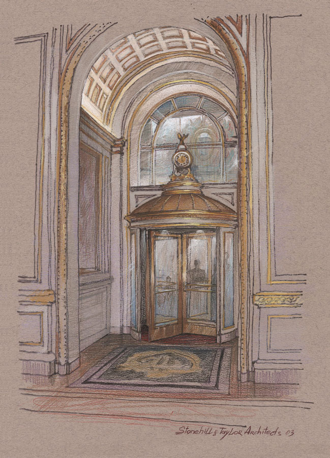 Architectural colored pencils sketch