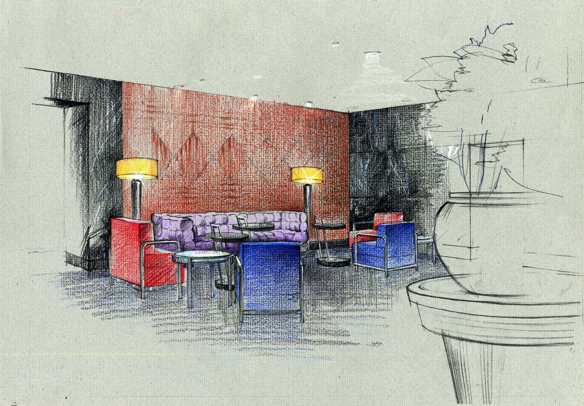 Colored Pencils architectural sketch