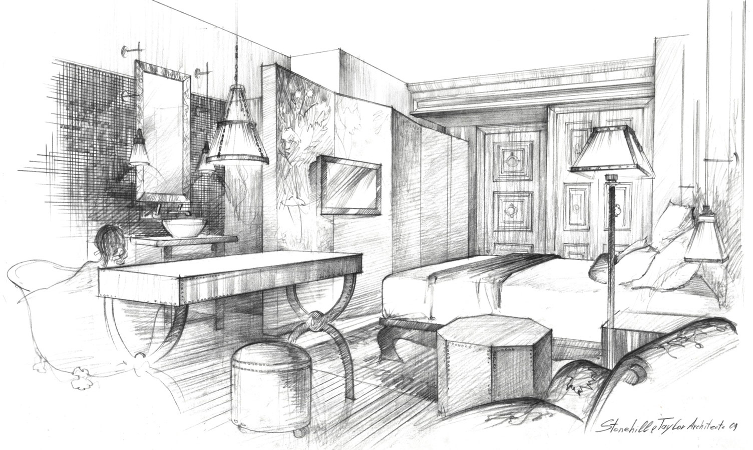 Architectural pencil, hotel room