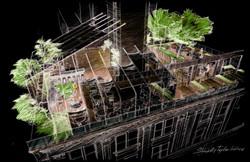 Architectural concept sketch.
