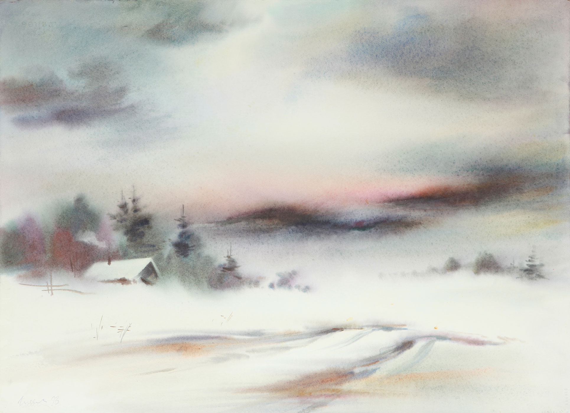 Winter landscape, etude