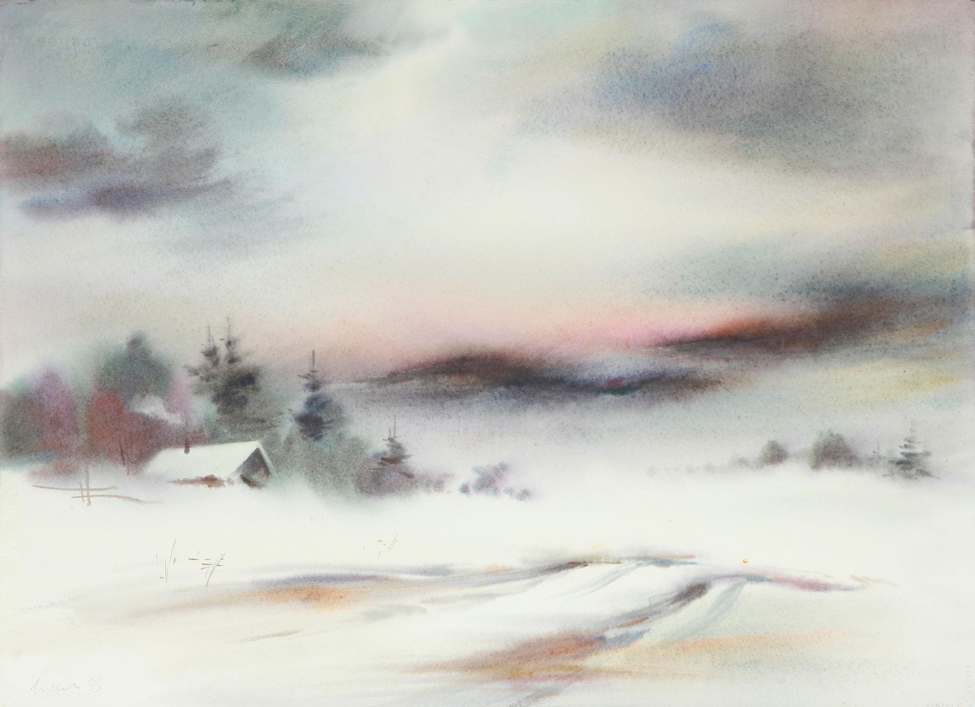 Winter landscape, etude