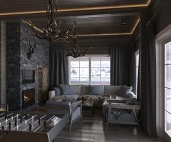 One family house living room