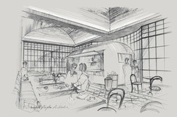 Freehand architectural pencil sketch