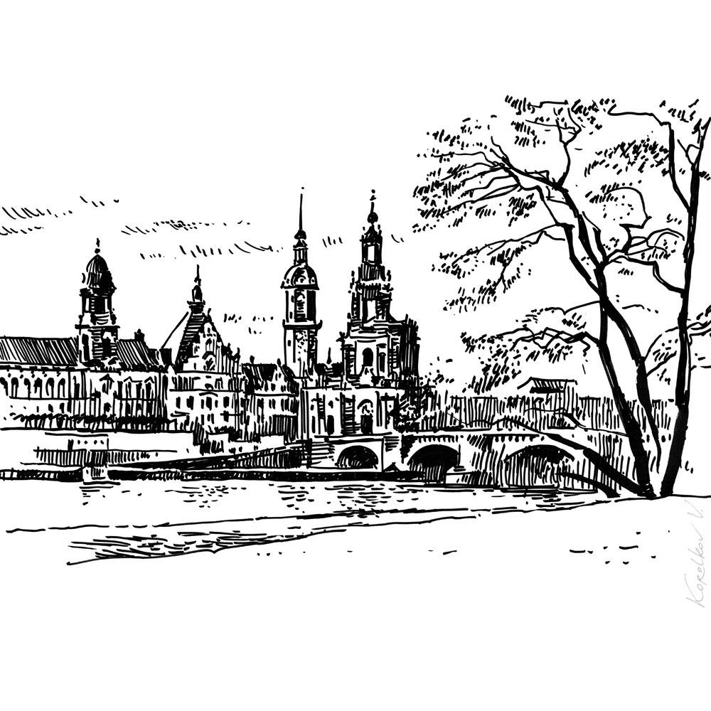 Sityscape sketch, Dresden
