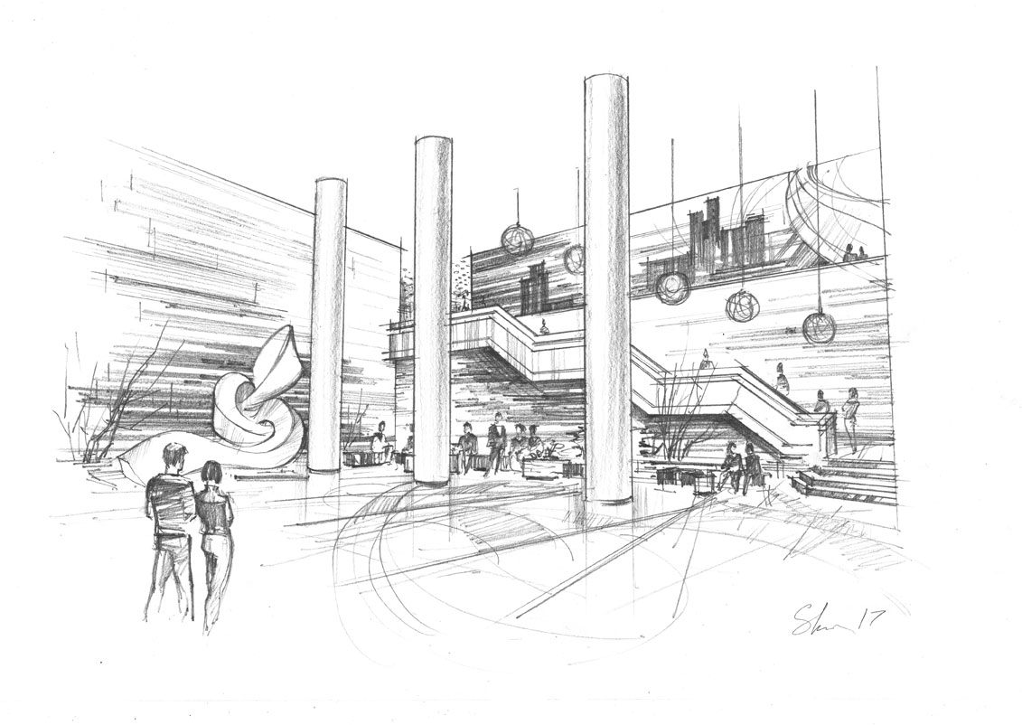 Architectural concept pencil sketch