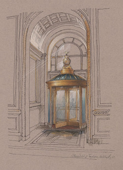 Architectural colored pencils sketch